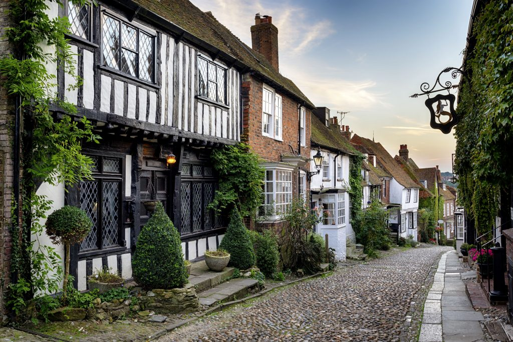 A beautiful cobbled street in the historic town of Rye in East Sussex