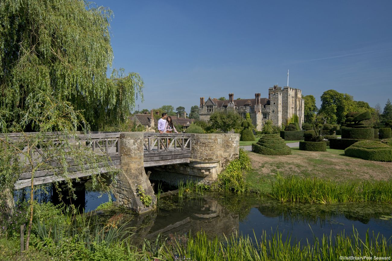 Hever Castle near Edenbridge in Kent is a historic tourist attraction, Anne Boleyn's childhood home, founded in the 13th century and updated in the 20th century.