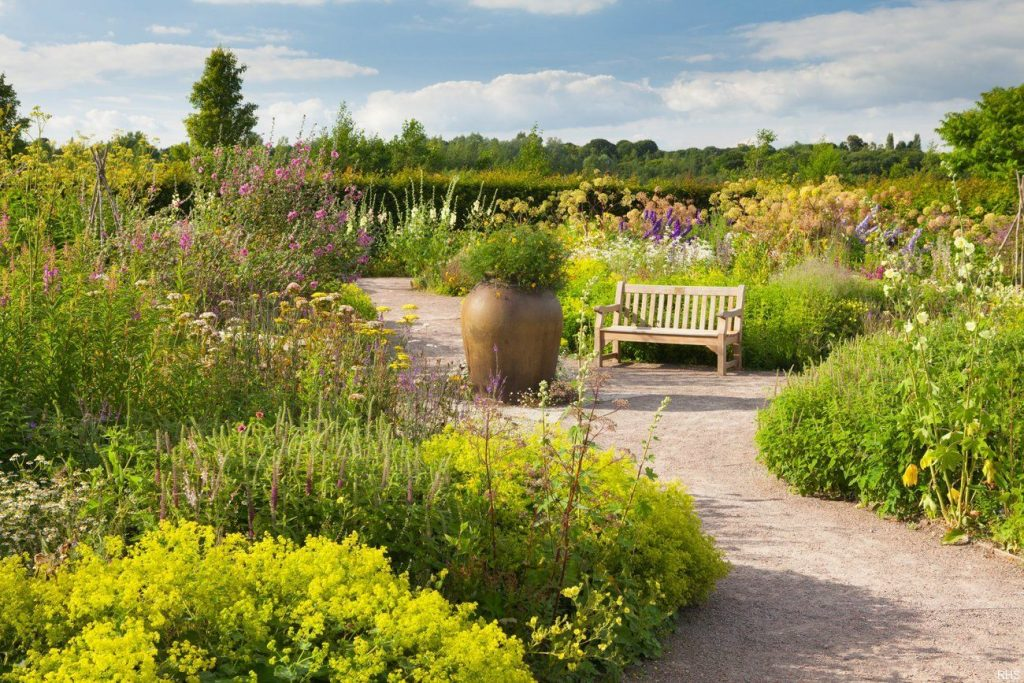Cottage Garden in summer at RHS Garden Hyde Hall, Essex, England